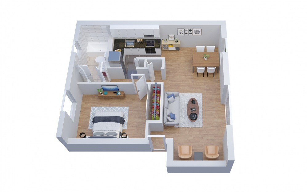 A1 - 1 bedroom floorplan layout with 1 bath and 659 square feet.