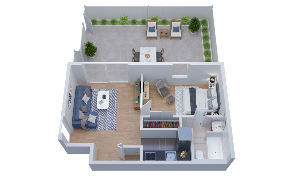 A2 - 1 bedroom floorplan layout with 1 bath and 652 square feet.
