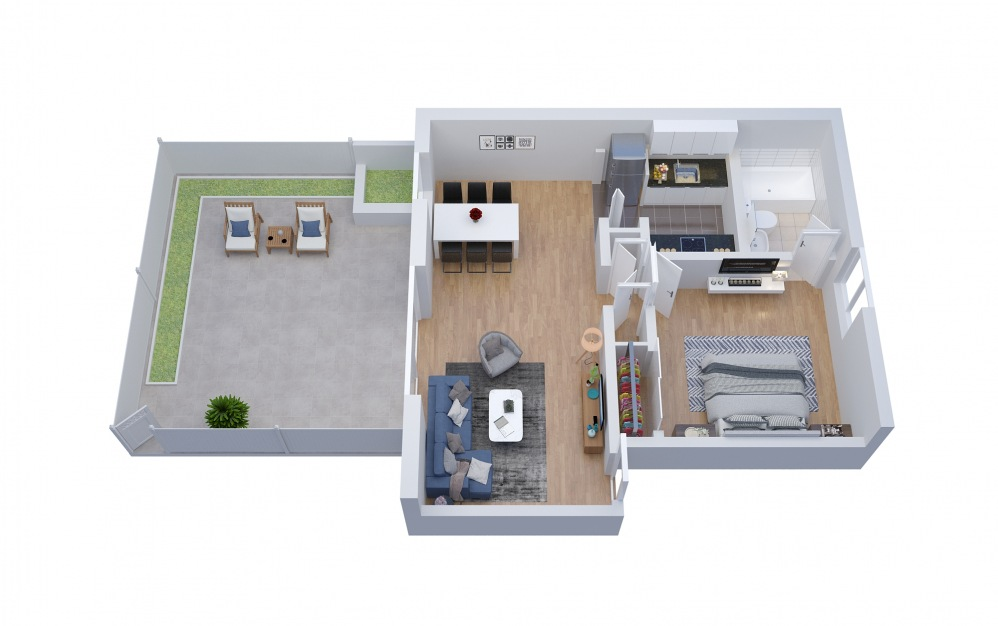 A3 - 1 bedroom floorplan layout with 1 bath and 759 square feet.