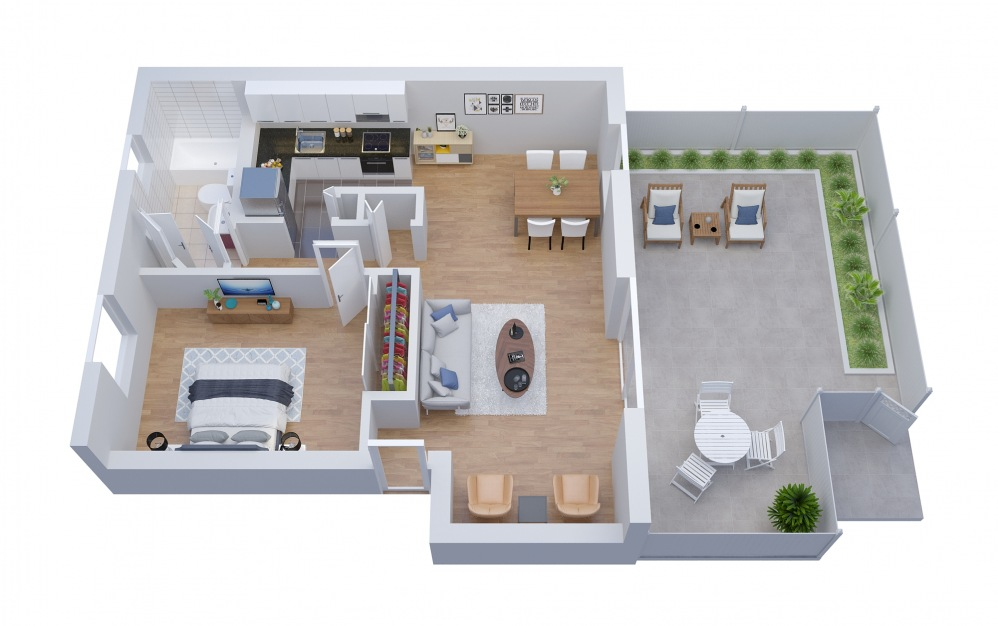 A6 - 1 bedroom floorplan layout with 1 bath and 901 square feet.