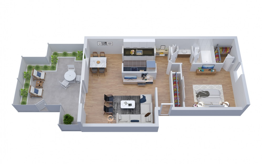 A7 - 1 bedroom floorplan layout with 1 bath and 937 square feet.