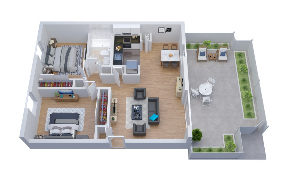 B1 - 2 bedroom floorplan layout with 1 bath and 1037 square feet.