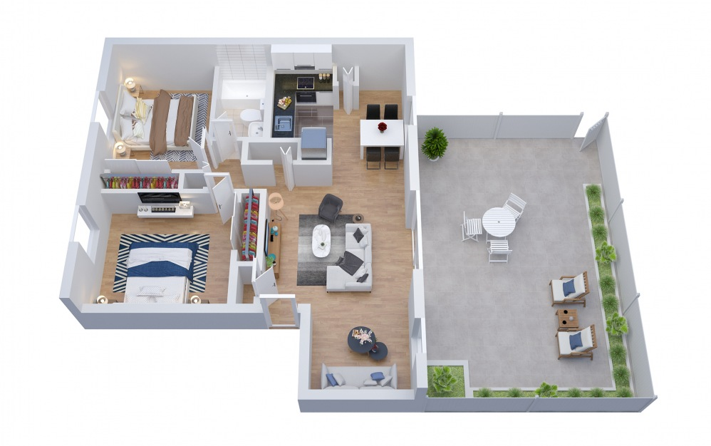 B2.D - 2 bedroom floorplan layout with 1 bath and 1077 square feet.