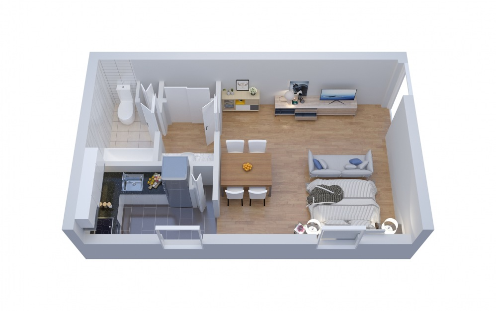 E1 Efficiency - Studio floorplan layout with 1 bath and 550 square feet.
