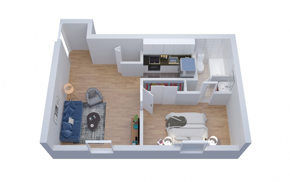 S1 - Studio floorplan layout with 1 bath and 622 square feet. (Floor 2)