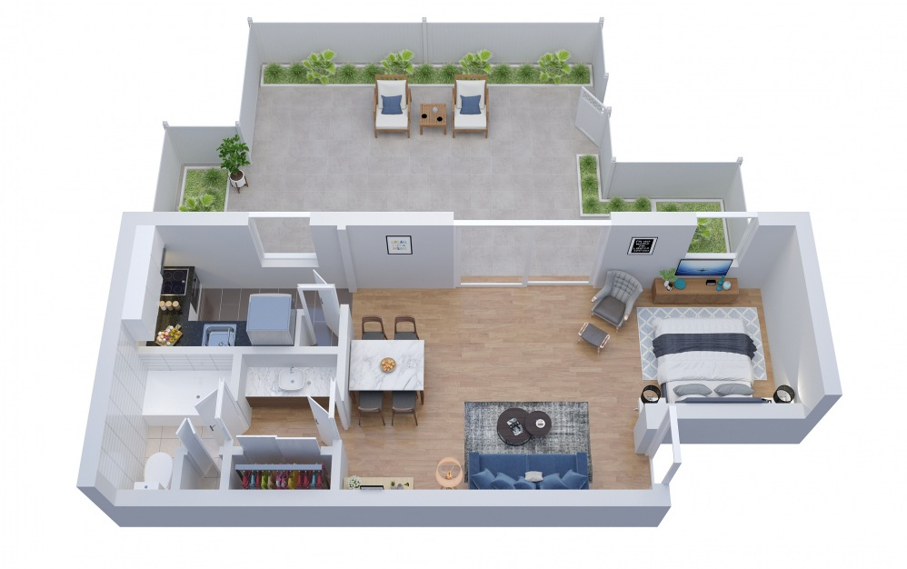 S1 - Studio floorplan layout with 1 bath and 622 square feet. (Floor 1)