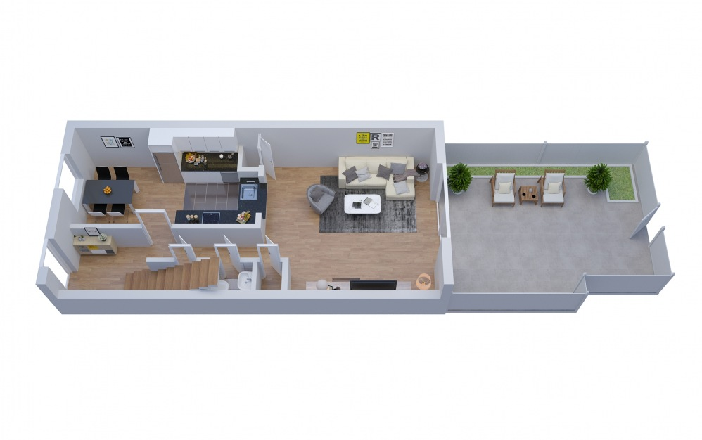T2 Townhouse - 2 bedroom floorplan layout with 1.5 bath and 1288 square feet. (Floor 2)