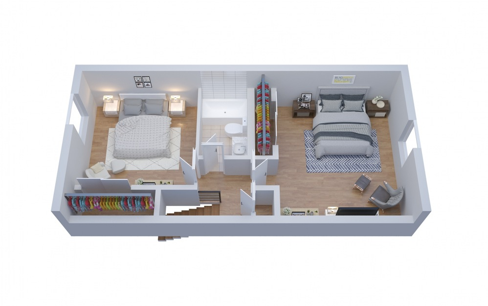 T2 Townhouse - 2 bedroom floorplan layout with 1.5 bath and 1288 square feet. (Floor 1)