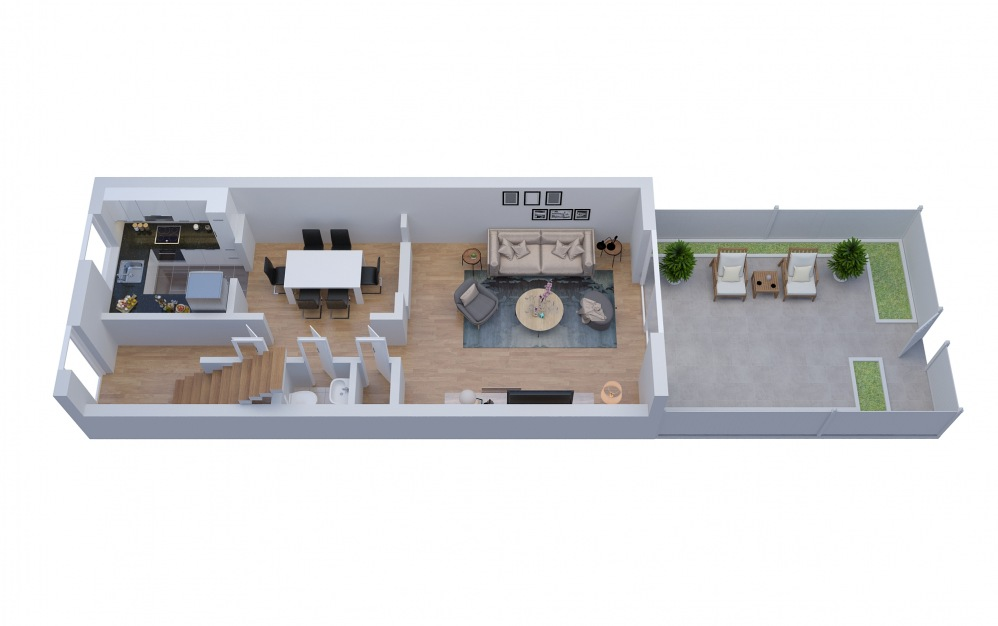 T3 Townhouse - 2 bedroom floorplan layout with 1.5 bath and 1320 square feet. (Floor 1)