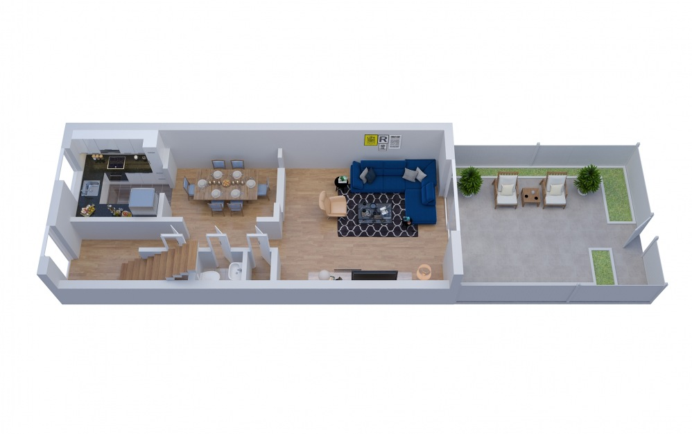 T5 Townhouse - 2 bedroom floorplan layout with 2.5 baths and 1470 square feet. (Floor 1)