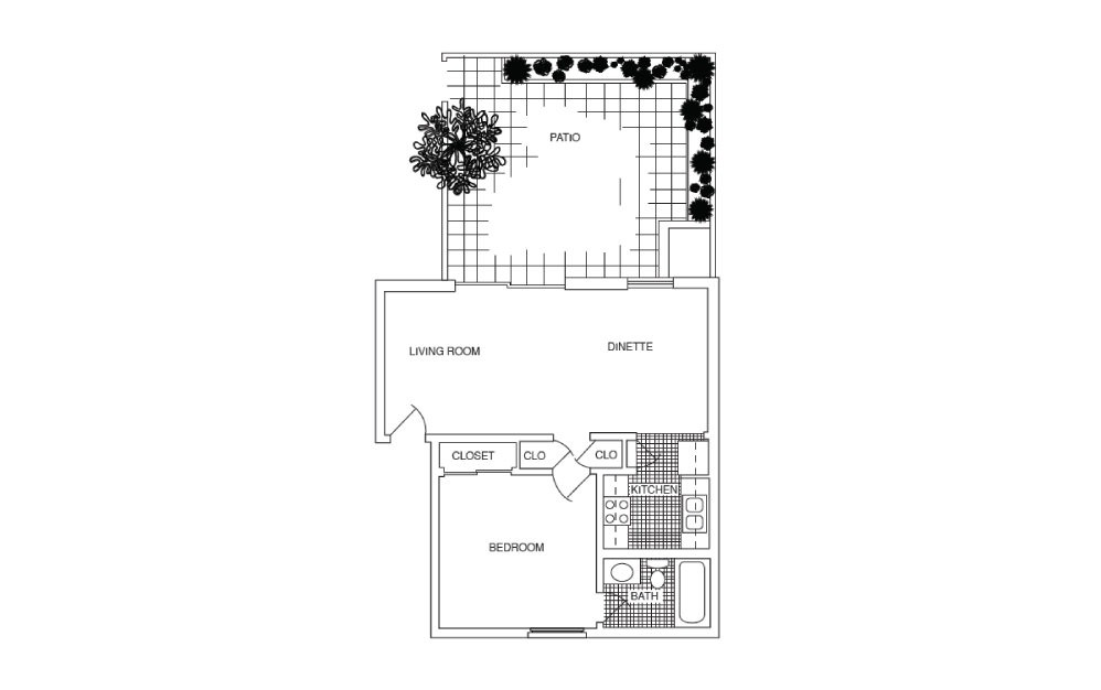 A3 - 1 bedroom floorplan layout with 1 bath and 612 square feet.