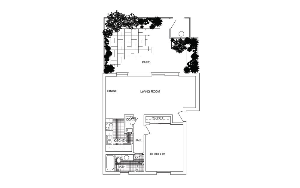A5 - 1 bedroom floorplan layout with 1 bath and 732 square feet.