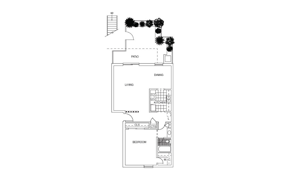 A7 - 1 bedroom floorplan layout with 1 bath and 790 square feet.