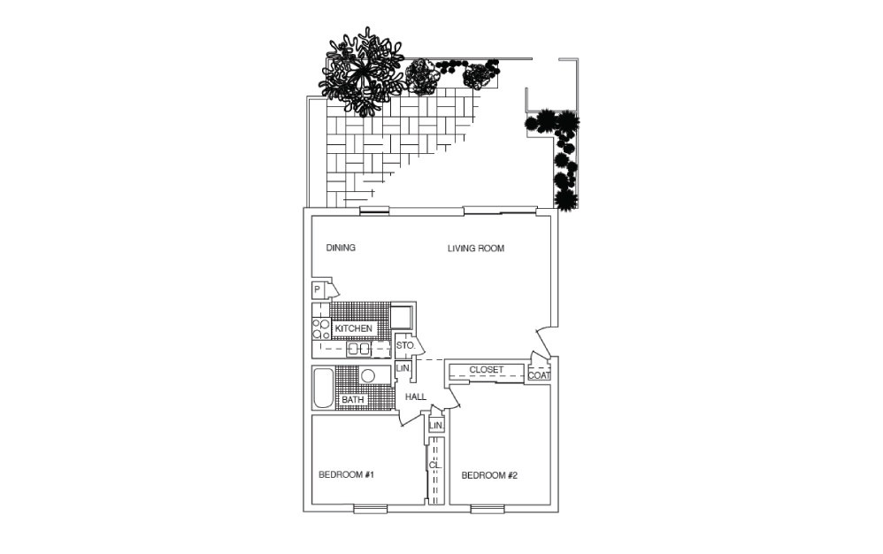 B1 - 2 bedroom floorplan layout with 1 bath and 890 square feet.