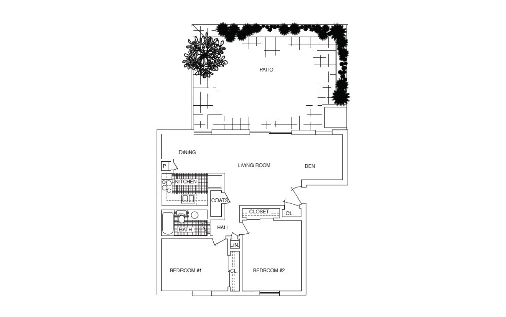 B2.D - 2 bedroom floorplan layout with 1 bath and 930 square feet.