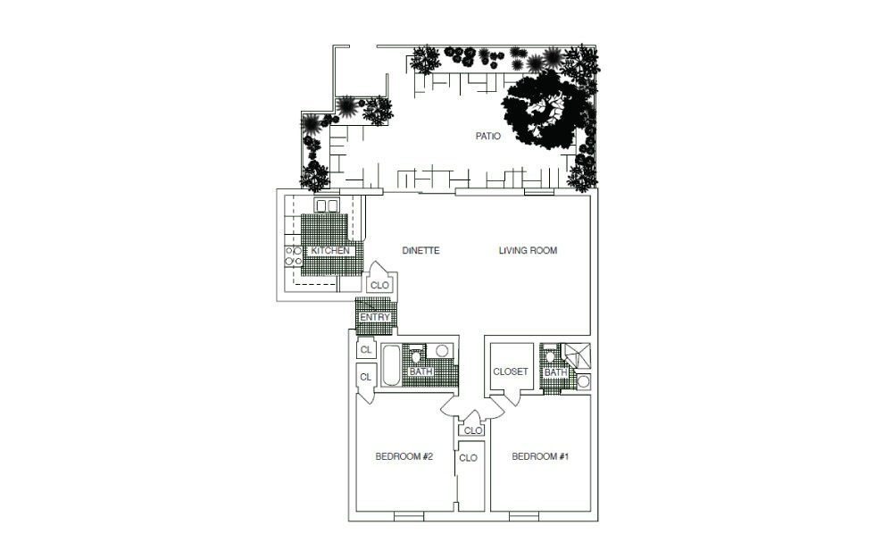 B3 - 2 bedroom floorplan layout with 2 baths and 1070 square feet.