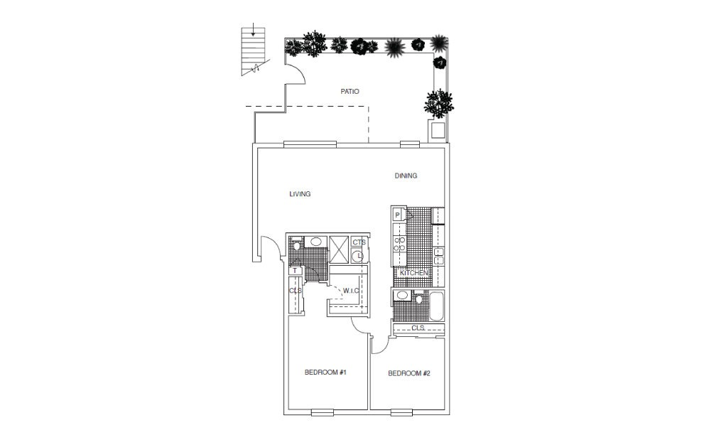 B4 - 2 bedroom floorplan layout with 2 baths and 1150 square feet.