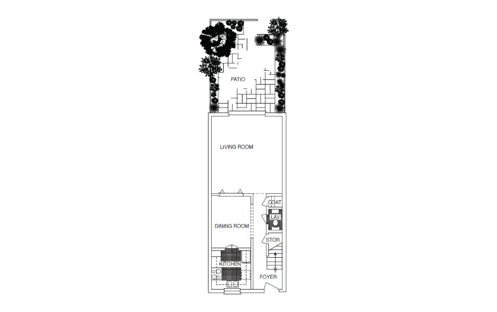 T5 Townhouse - 2 bedroom floorplan layout with 2.5 baths and 1270 square feet. (Floor 1)