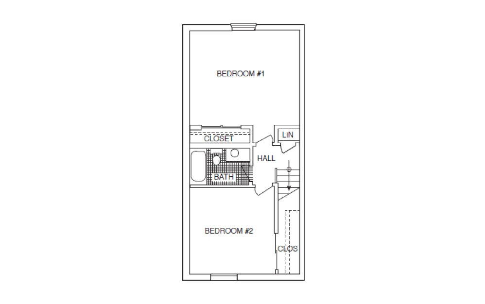 T3 Townhouse - 2 bedroom floorplan layout with 1.5 bath and 1120 square feet. (Floor 2)