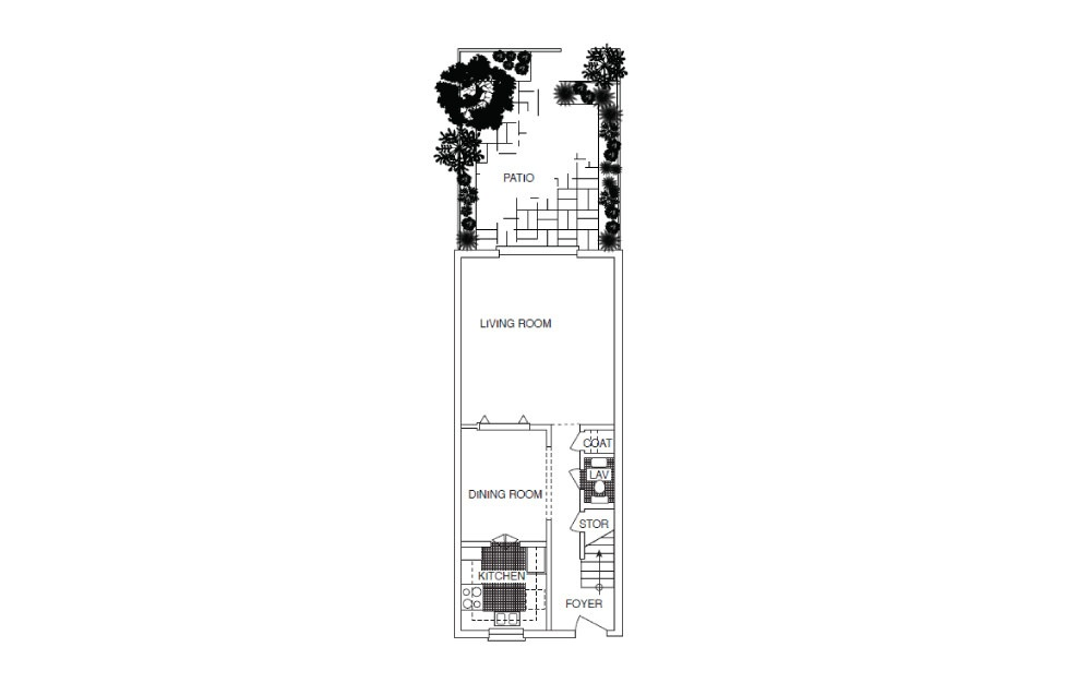 T4 Townhouse - 2 bedroom floorplan layout with 2.5 baths and 1250 square feet. (Floor 1)