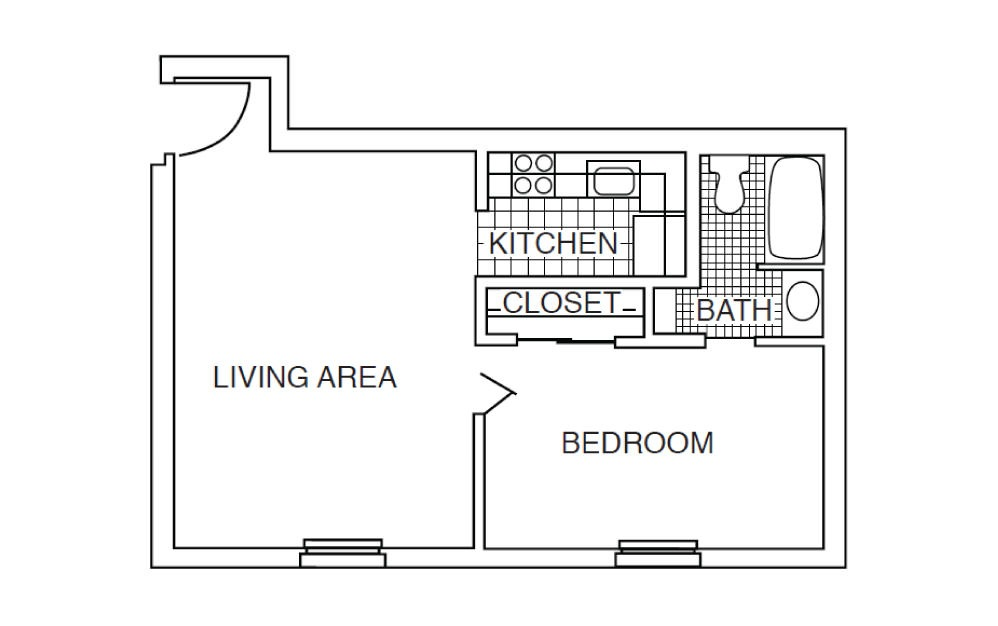 A1 - 1 bedroom floorplan layout with 1 bath and 512 square feet.