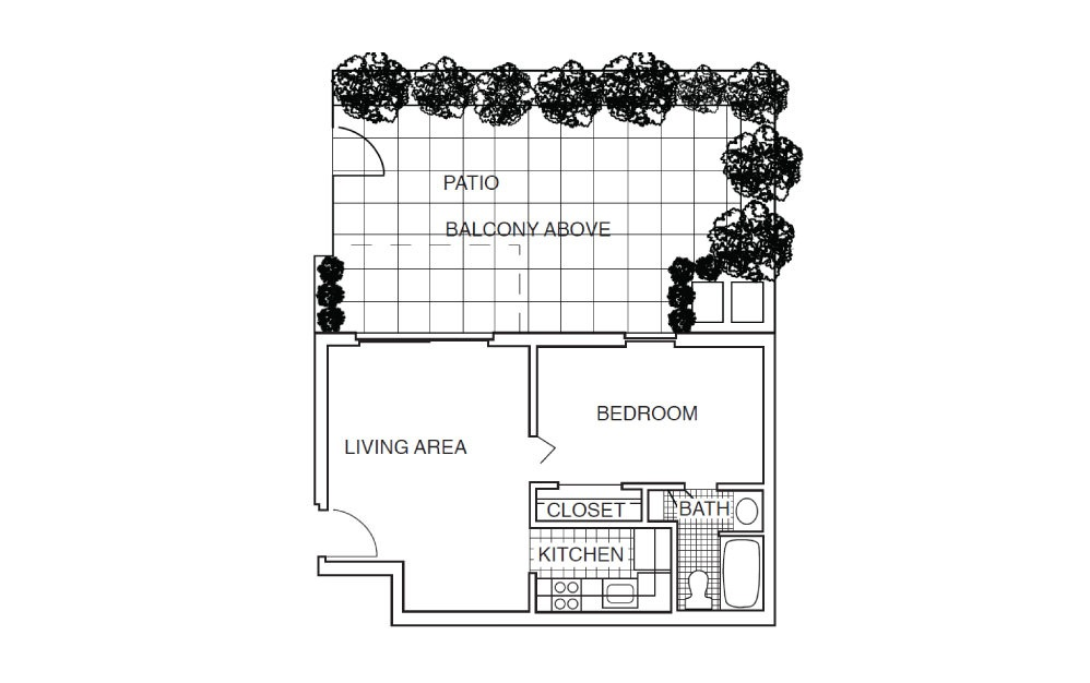 A2 - 1 bedroom floorplan layout with 1 bath and 520 square feet.